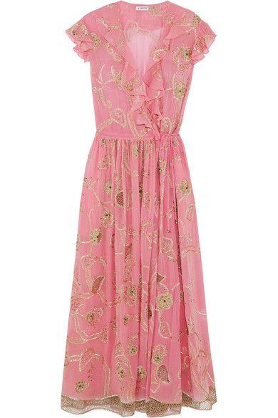 458ee4d4 Ashish - Embroidered Embellished Silk-georgette Wrap Dress - Pink ...