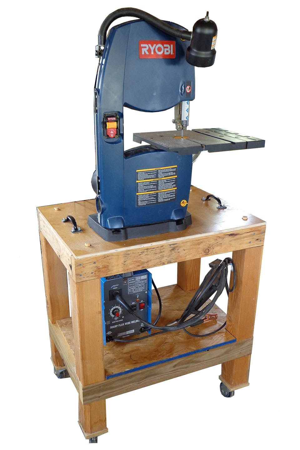 "A 14"" band saw mounted on the rollaround bench. Bandsaw"
