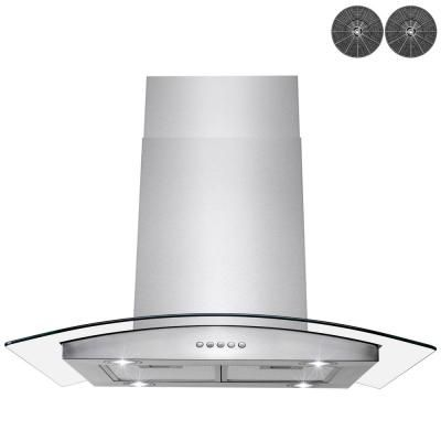 Golden Vantage 36 In Convertible Kitchen Island Mount Range Hood In Stainless Steel With Tempered Glass Led Lights And Carbon Filters Rh0301 The Home Depot Range Hood Led Lights Tempered Glass
