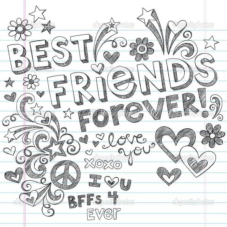 Best Friends Coloring Pages Printable Best Friends Printable Sketsa Clip Art Tulisan