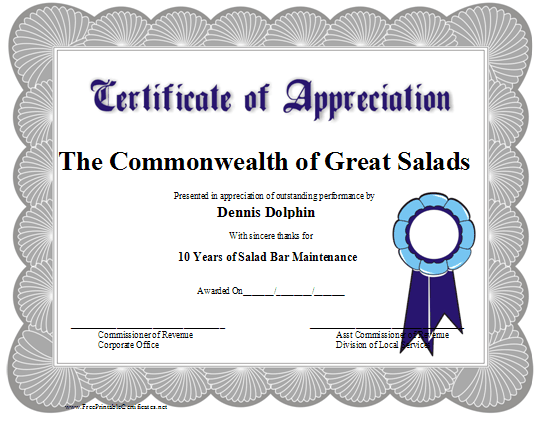 servsafe certificate template - this certificate of appreciation is adorned with a blue