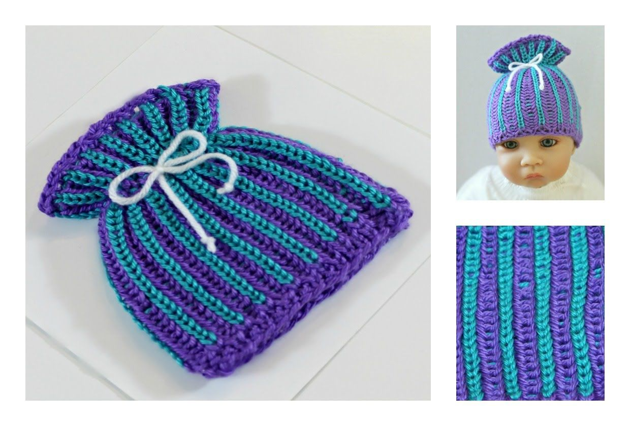 Loom Knit Hat: Brioche Stitch Paper Bag Baby Hat - Two colors | Loom ...