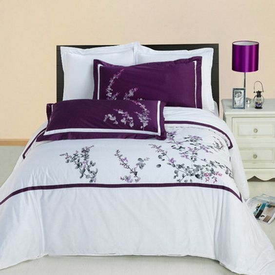 Captivating Hotel Black White Purple Embroidered Duvet Cover Set   Classic White Bedding  With Purple Accents.