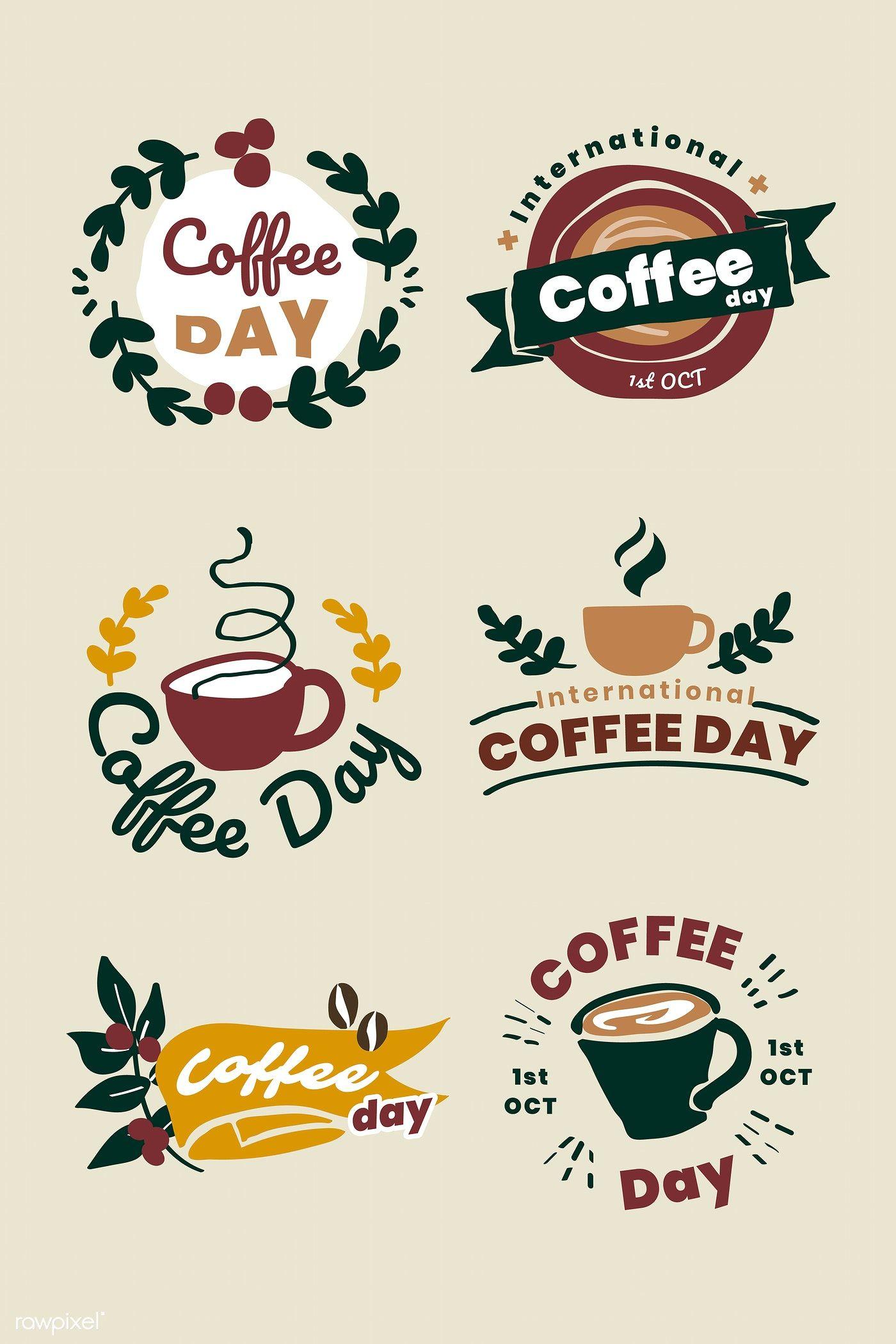 International coffee day logo set vector premium image
