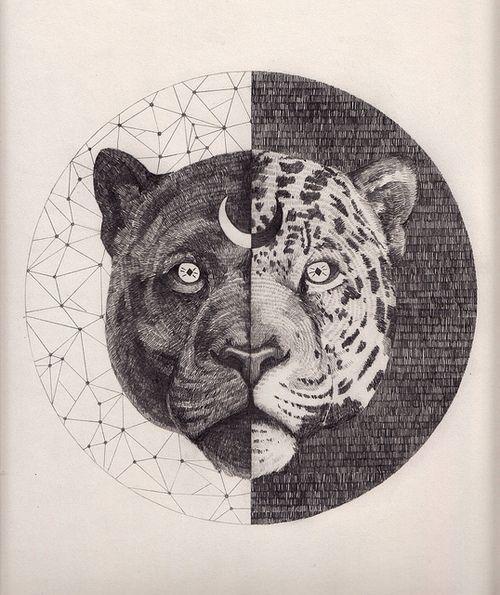 Sacred Geometry Moon Tiger Digital Art Jaguar Tattoo Black