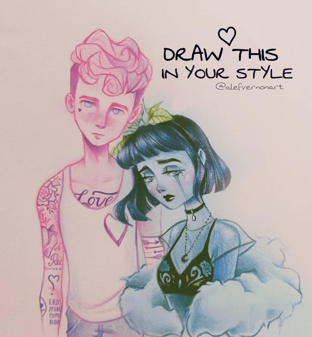Alef Vernon sur Instagram: «Commençons l'année avec un défi #DrawThisInYourStyle? J'ai amené deux personnages que j'appelle Amour et Tristesse pour que tu puisses dessiner dans ton… »