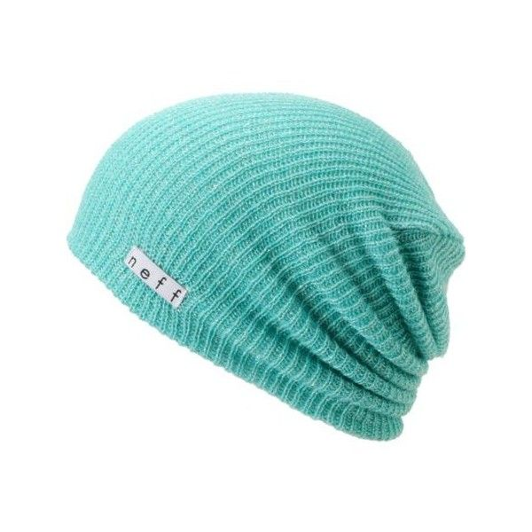 bd5130d1cee Neff Daily Sparkle Turquoise Silver Slouchy Beanie ($19) ❤ liked on Polyvore  featuring accessories, hats, beanies, logo hats, slouchy beanie, neff, ...