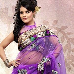 Charming Purple Embroidered Saree