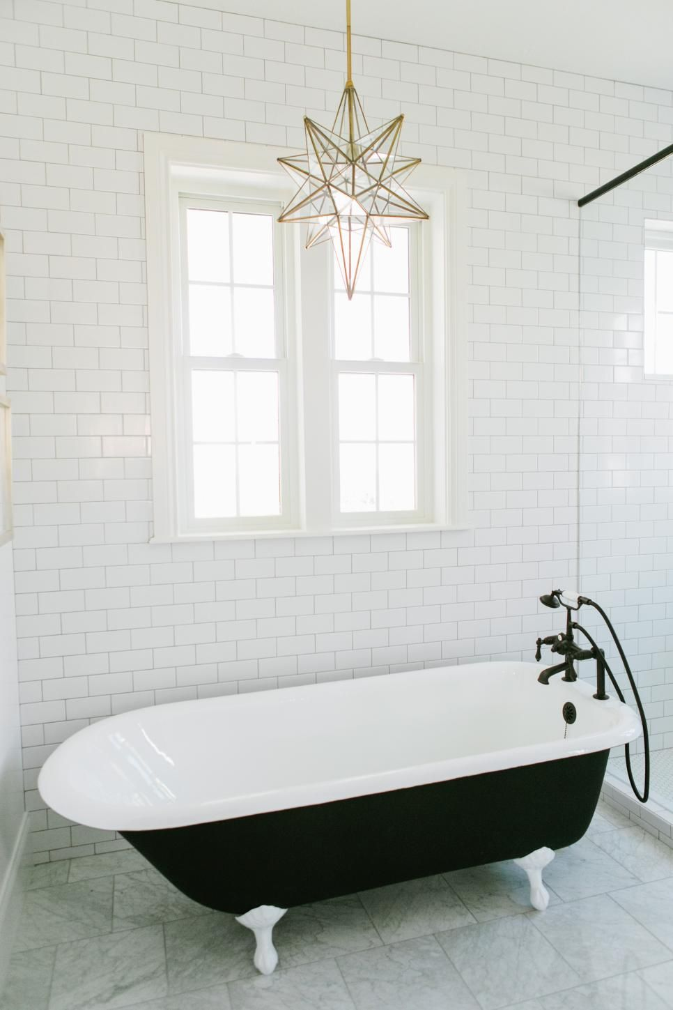 This Bright Master Bathroom Features White Subway Tile Walls