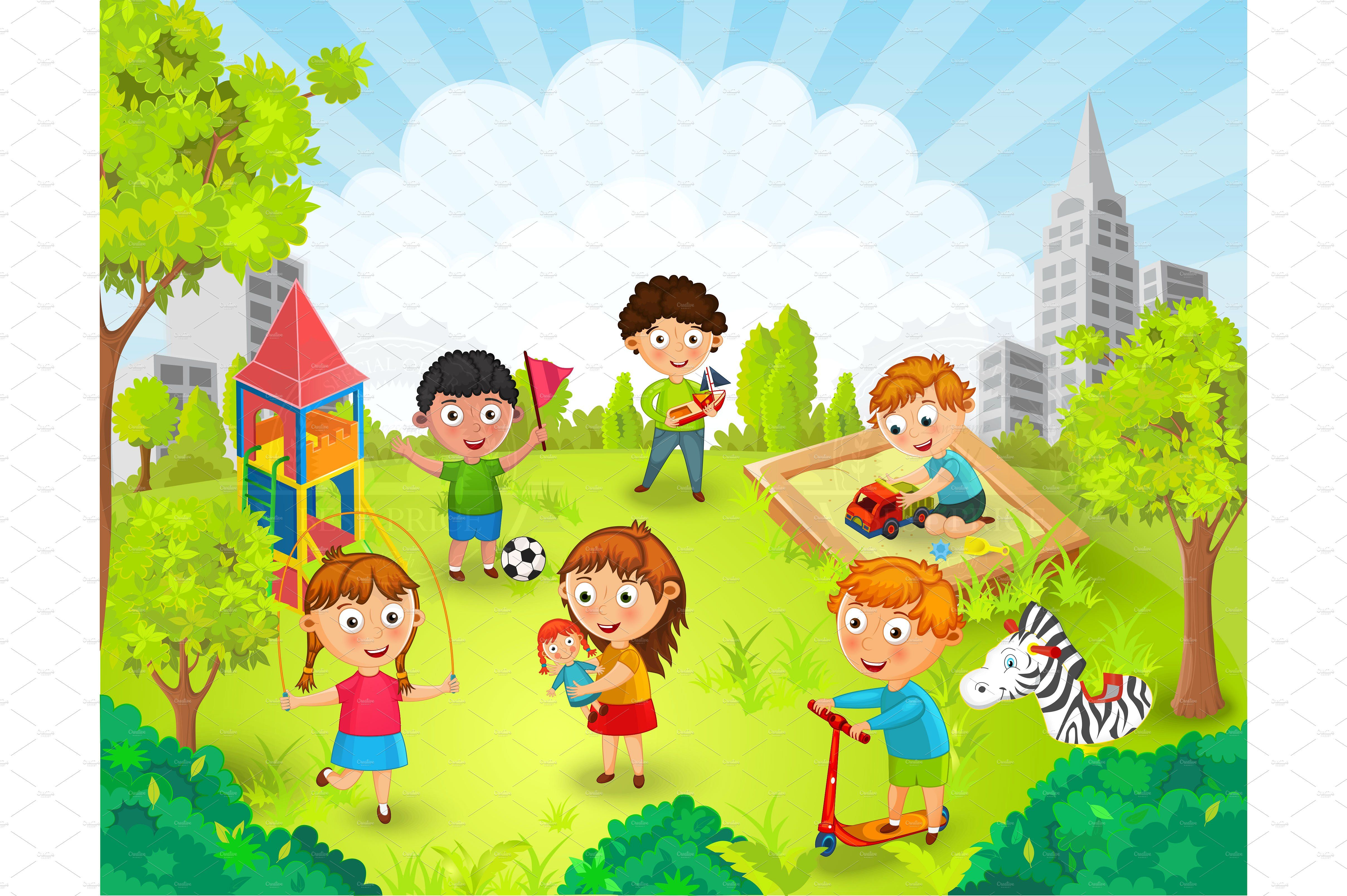 Children Playing In The Park Vector Vector Illustration