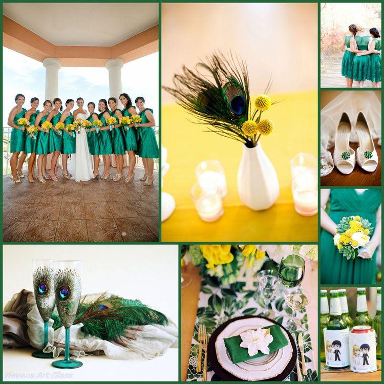 Emerald Green, Yellow Wedding Ideas.