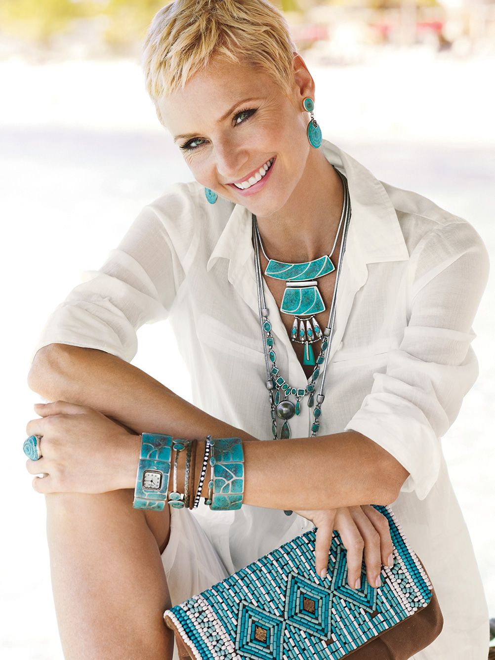 Time for turquoise – Great style is built in layers inspired by the classic summer stone. #chicos