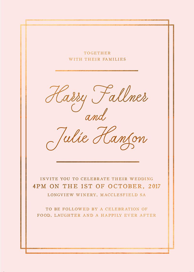 Classic Blush Bronze Foil Wedding Invitations Sail And Swan Foil Wedding Invitations Rose Gold Invitations Classic Wedding Invitations