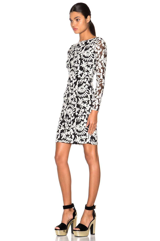 Alice Olivia Katy Open Diamond Back Dress In Black Creme [ 1440 x 953 Pixel ]
