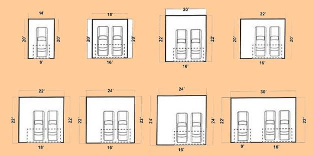 Garage design ideas door placement and common dimensions for 2 car garage door dimensions