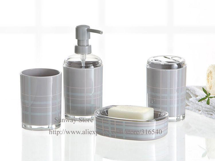 Wonderful Bathroom Accessories Set Grey