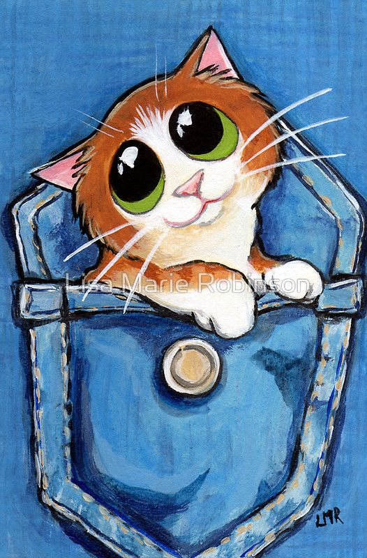 'Sweet Ginger the Pocket Kitten' Greeting Card by Lisa Marie Robinson