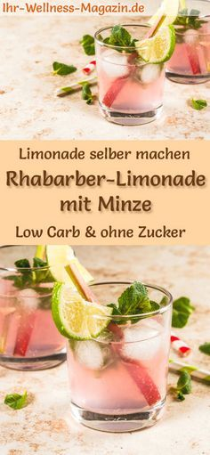 Photo of Make rhubarb lemonade with mint yourself – low carb & no sugar
