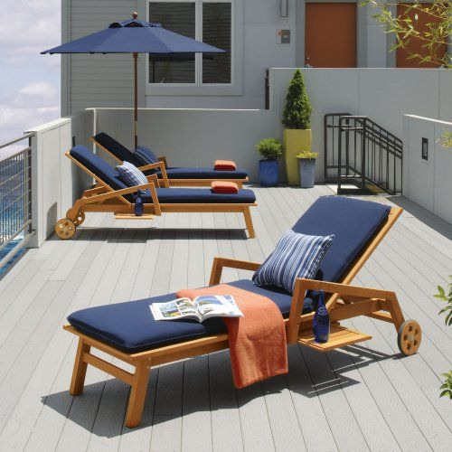 Find it at the Foundary - Sienna Outdoor Chaise Lounge with Navy Blue Cushions