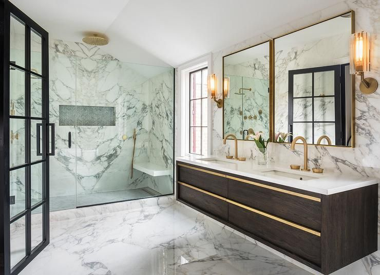 Two Brass Box Frame Mirrors Hang From A Marble Slab Backsplash Over A Restoration Hardware Bezier Double Extra Floating Vanity Interior Design Geometric Floor