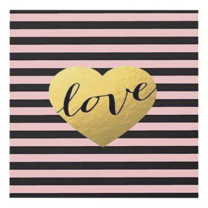 Elegant Pink & Black Stripes Gold Love Heart Panel Wall Art - script ...