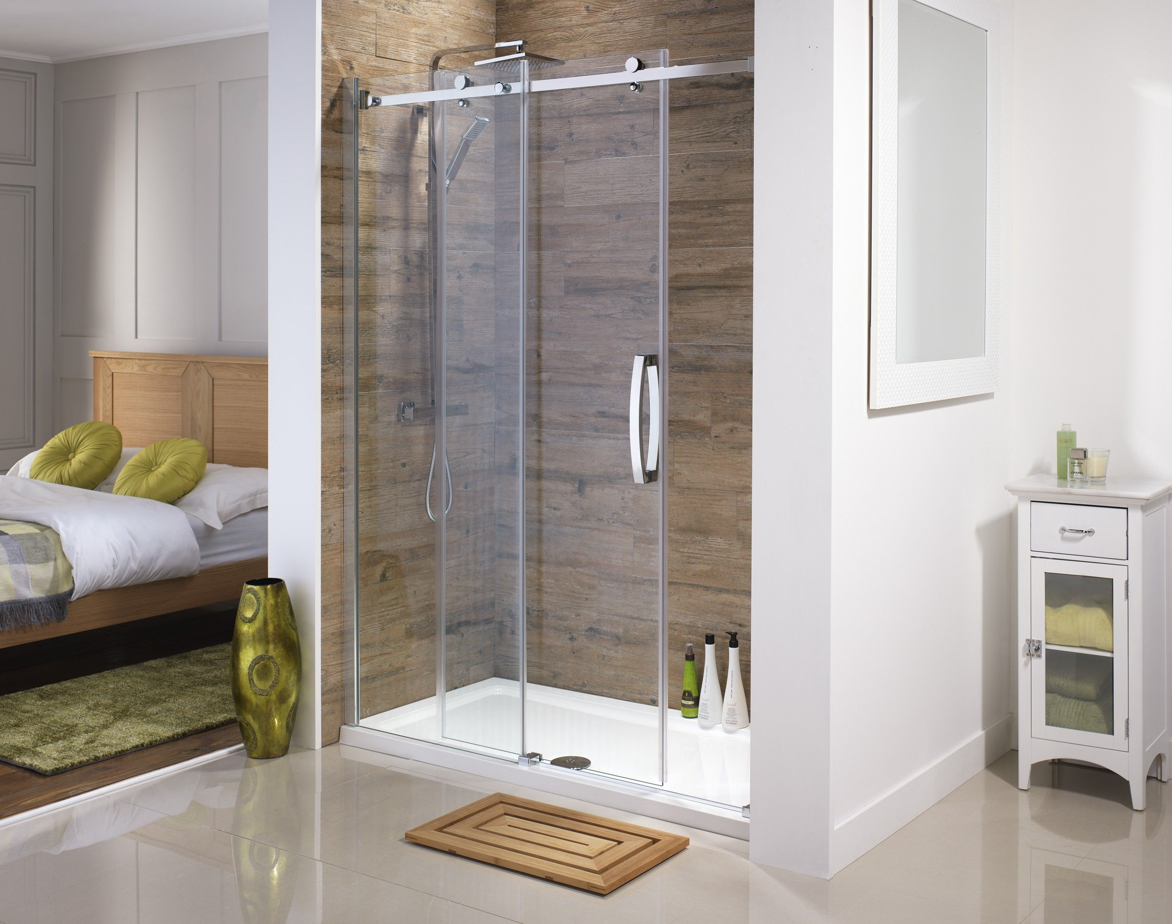Sliding shower screen - Orca Frameless Sliding Doors Available From Serene Bathrooms