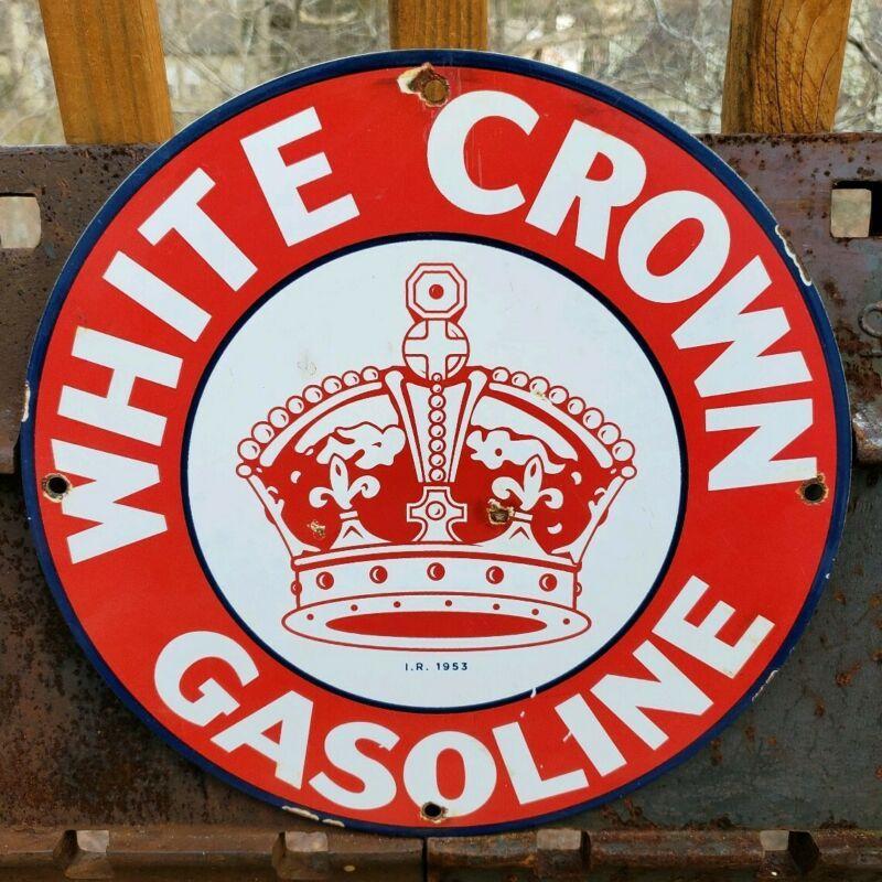 vintage white crown gasoline porcelain sign gas station