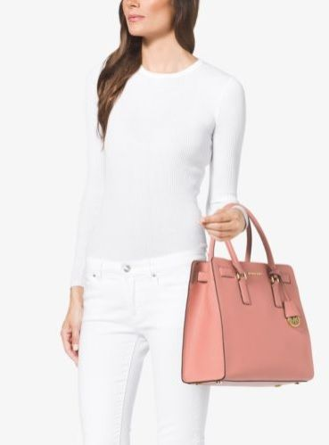 8d30688ed72ec3 MICHAEL Michael Kors Dillon Large Saffiano Leather Satchel Store Style #:  30H5GAIT3L Colour Pale Pink
