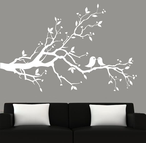 Modern White Tree Branch Decal With Birds Vinyl Wall Art Decal Wall  Stickers
