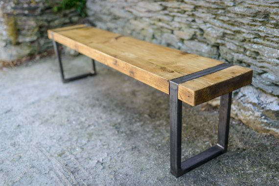 Industrial Bench Seating From Our 39 Wood Steel 39 Range Of Tables And Benches Designed In House An Wood Bench Seat Reclaimed Wood Benches Vintage Bench