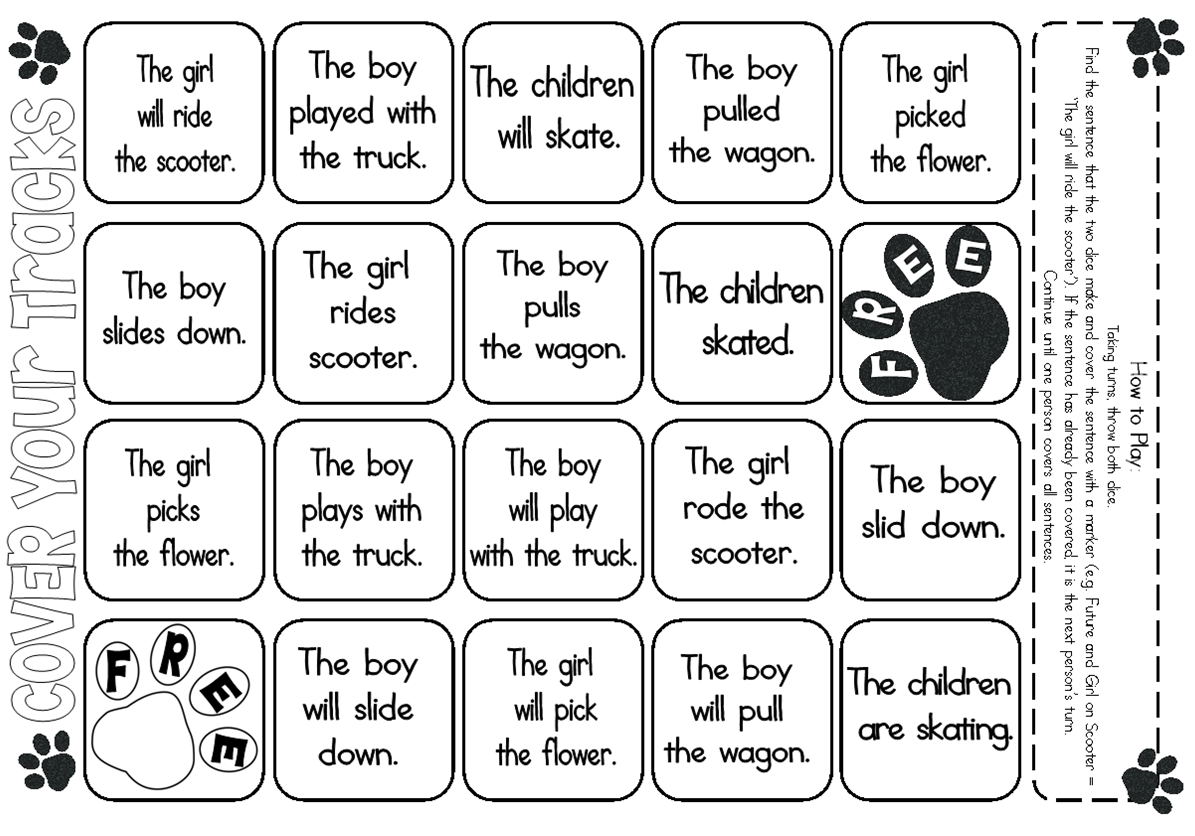 Cover Up Throw The Tense Dice Provided In Download And Cover The Sentence It Makes First Player To Cover T Future Tense Verbs Reading Vocabulary Ela Writing