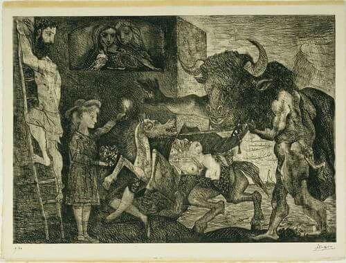 La minotauromachie. 23 mars 1935. Lithographie.