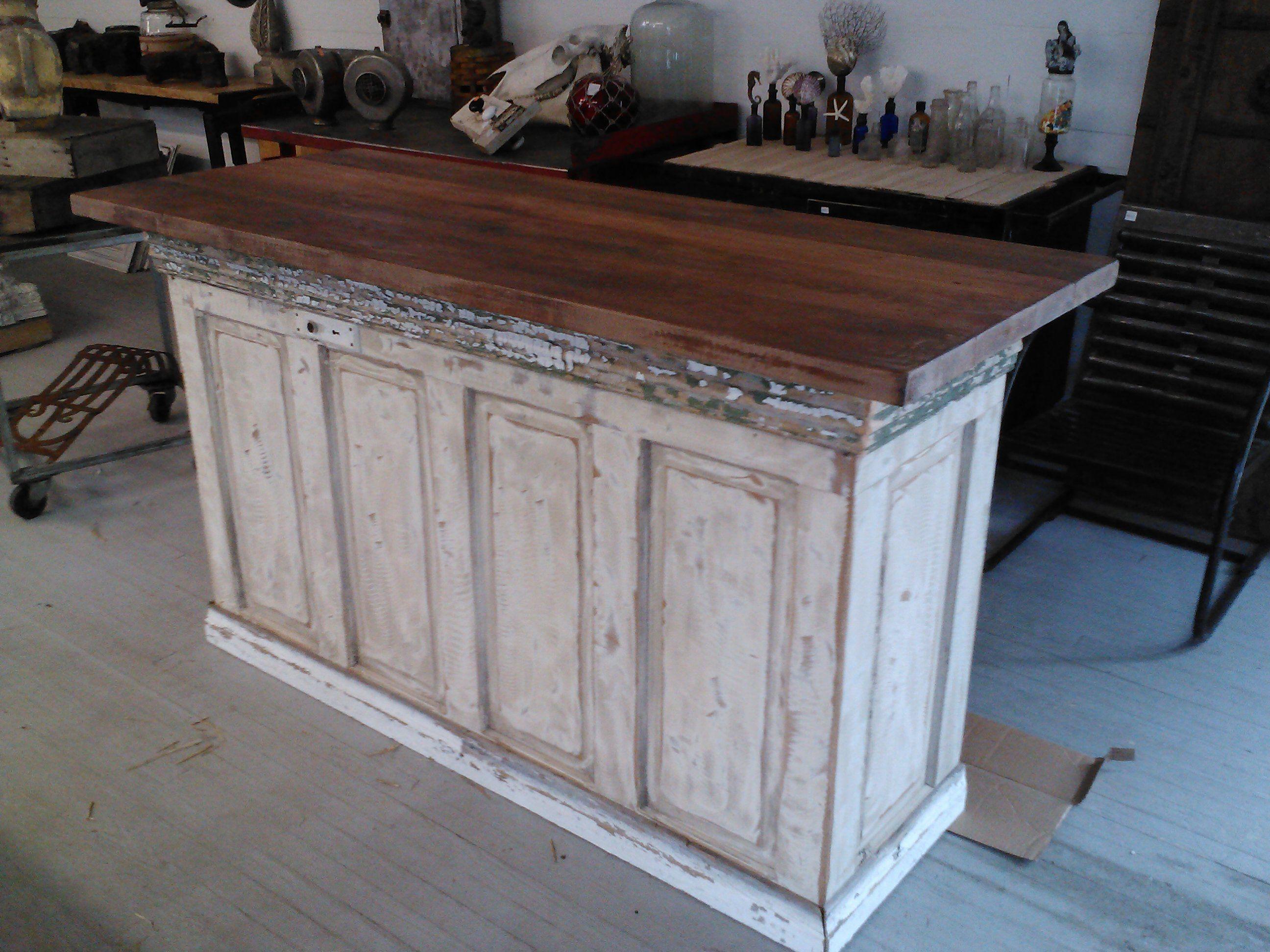 Island Doors Anton Farmhouse Solid Wood Distressed White Sliding Barn Door Kitchen Island With