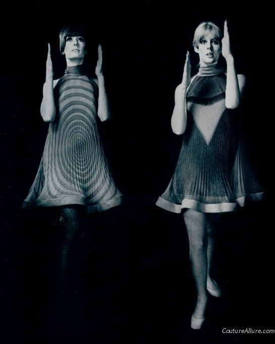 Pierre Cardin pleated op art dresses, 1967