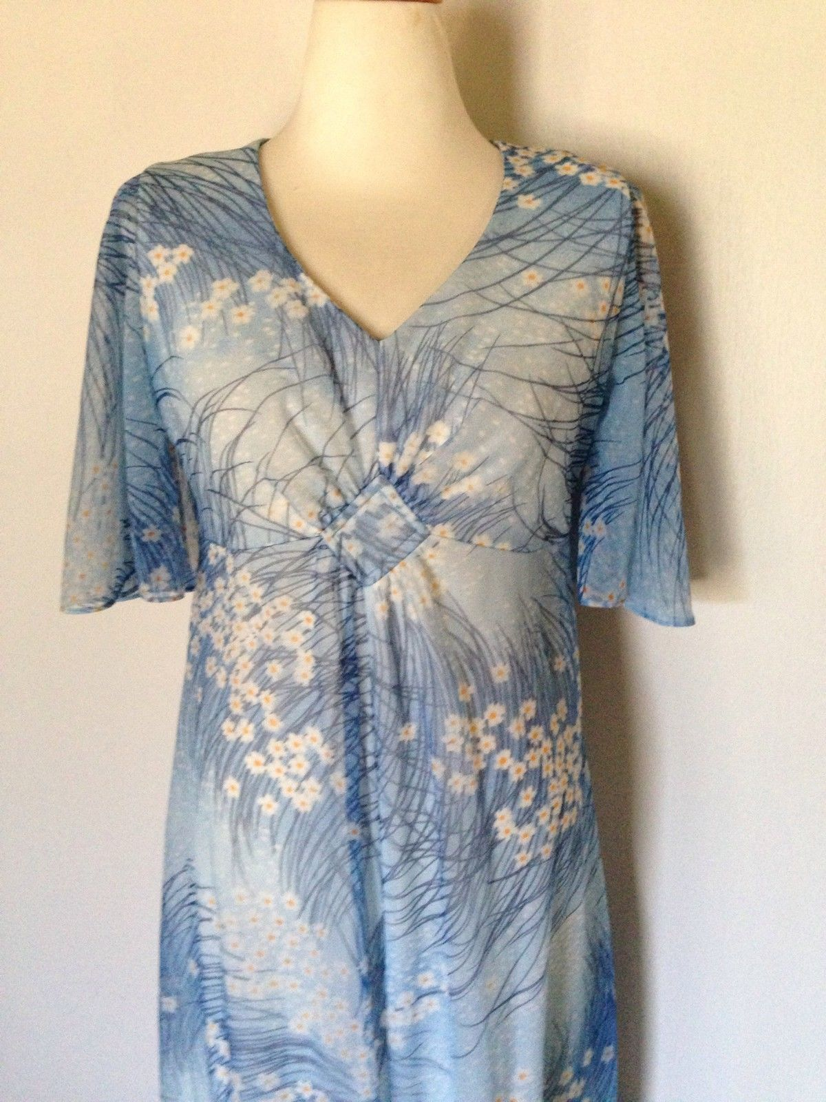 Vtg s liane hawaii maxi wedding dress blue flower hippie boho haw