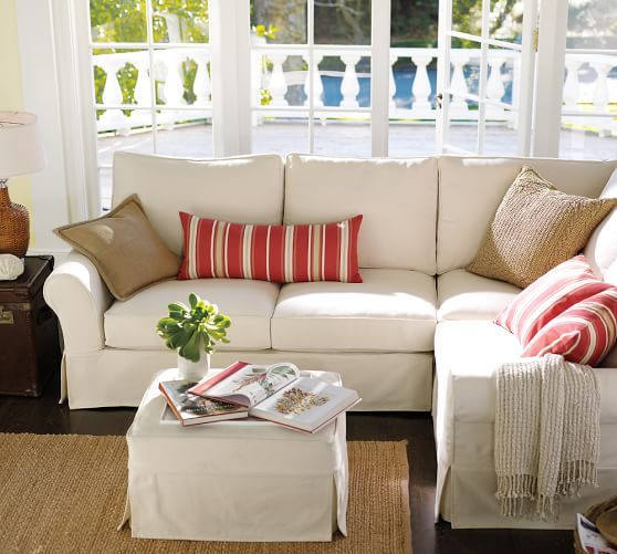 I Got This Sectional From Pottery Barn In Warm White Denim Couch Upholstery Sectional Slipcover Furniture