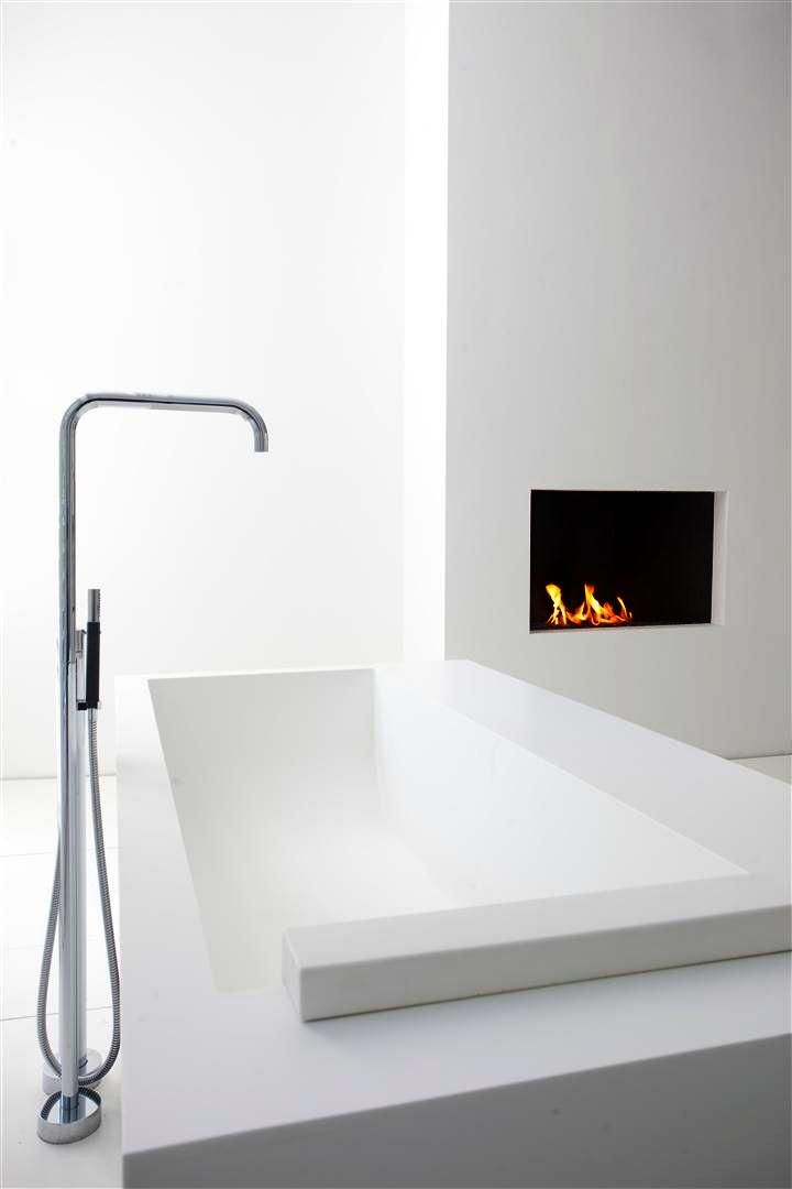 Bathroom with a fireplace, interior design by Sjartec Badkamers ...