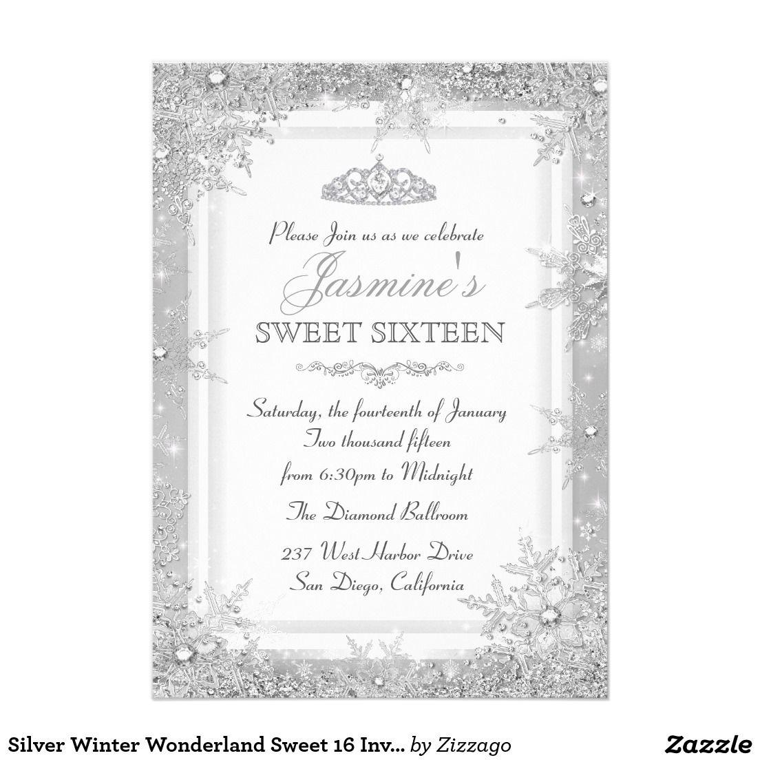 Silver Winter Wonderland Sweet 16 Invitation | 50th Ideas ...