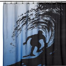 "Wild Surf 72"" x 72"" Shower Curtain! Wild Surf 72"" x 72"" Shower Curtain    A black silhouette of a surfer riding a wave stands out dramatically against the blue background of this fun shower curtain. An easy way to add a whimsical touch to your decor, shower curtain will be a welcomed addition to any bathroom. 100% polyester. Machine wash. Imported. $30"