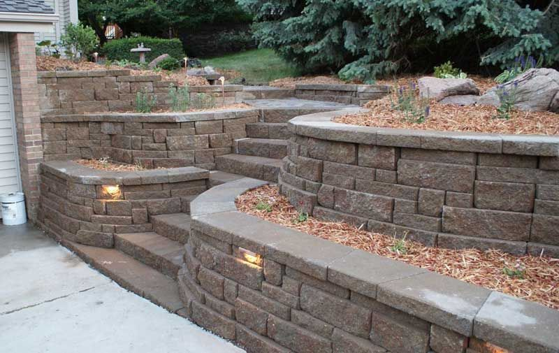 Landscape Design Retaining Wall Ideas retainingwallideaswithslope wall build Garden Landscaping Decoration Ideas With Wonderful Retaining Wall Design Options Brick Stones Installing Lighting Ideas With