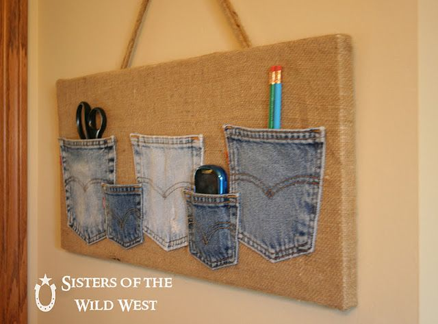 Denim Pocket Organizer - this would be great for a kids' room!