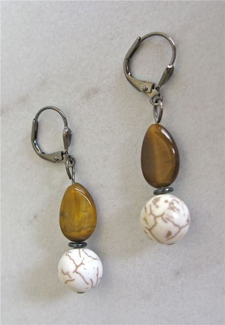Tigers eye teardrops with magnesite balls on black wire 8 See more