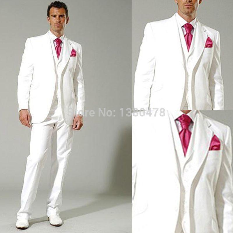 custom suit New style white Groom Tuxedos groomsman Best Man Suit ...
