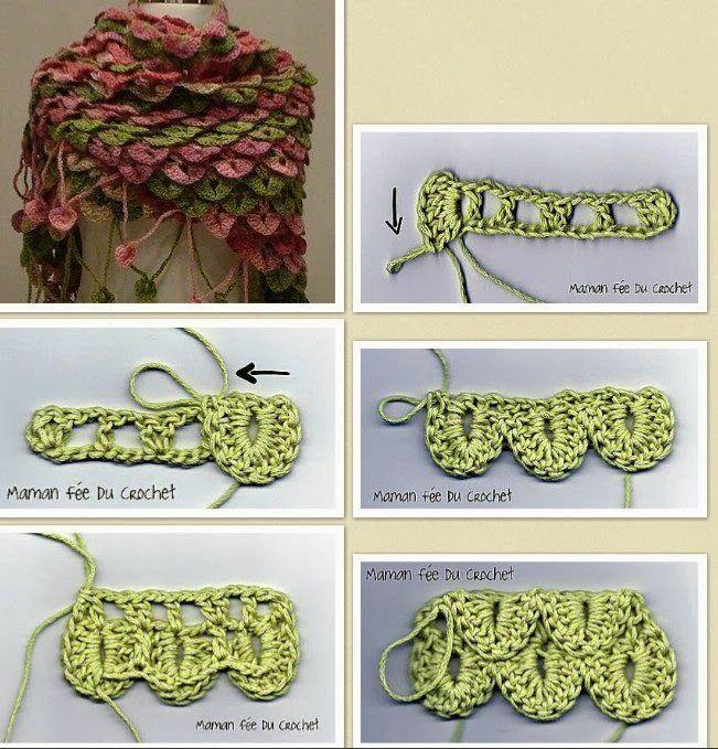 Tutorial Punto Cocodrilo o Escama - Patrones Crochet   Crochet ...