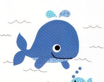 N utico ballena con arte ancla vivero imprime por for Vivero para peces