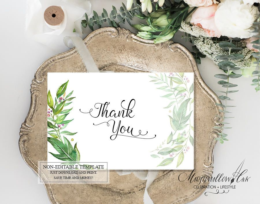 Botanical Wedding Thank You Cards Printable Floral Thank You Card
