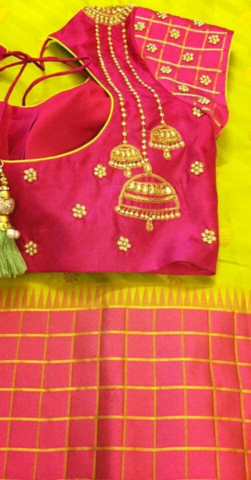 29cc395d83e097 jhumka embroidery | Traditional silk | Blouse designs, Jhumka ...