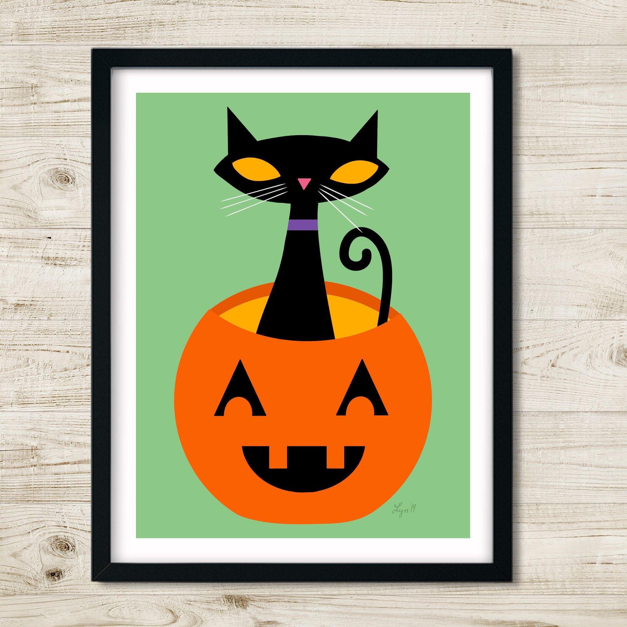 Halloween Cat Print For Nursery Child S Room Or Home Halloween