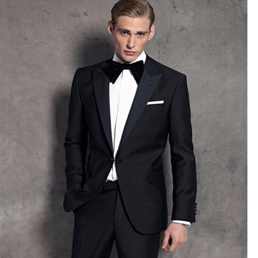 >> Click to Buy << Black Groom Tuxedos Men Wedding Suits For Men Lapel Groomsmen Suits One Button Mens Suits Jacket+pants #Affiliate