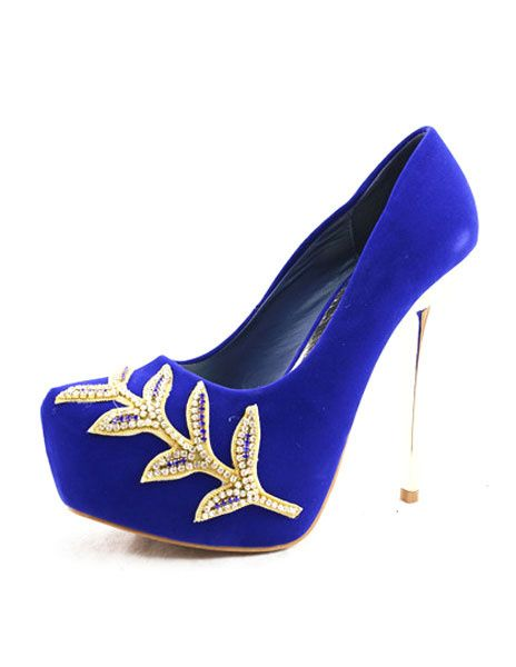 Platform Wedding Shoes Royal Blue High Heel Pumps Women S Slip On Bridal With Rhinestone